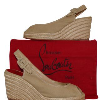 Christian Louboutin Tan Canvas Wedge Slingbacks