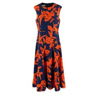 Dries Van Noten Navy Blue & Orange Printed Dress
