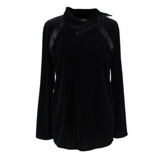 Giorgio Armani Black Velvet Satin Trimmed Button Detail Top