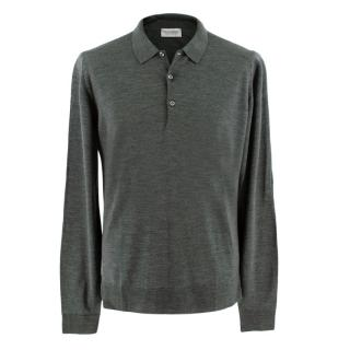 John Smedley Grey Long Sleeve Polo