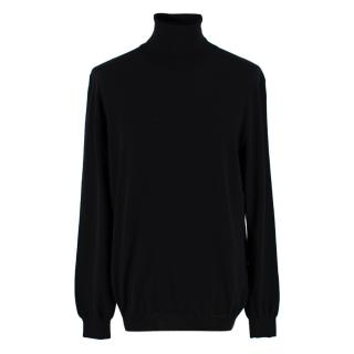 Zanone Black Roll Neck Wool Blend Polo Top
