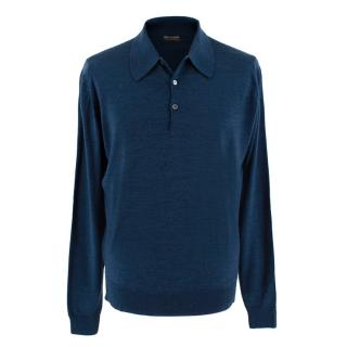 John Smedley Dark Blue Long Sleeve Polo