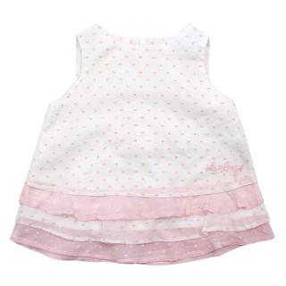 Darlings Baby Ruffled Pink & White Dress