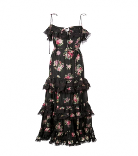 Zimmermann Black Tiered Sleeveless Midi Dress