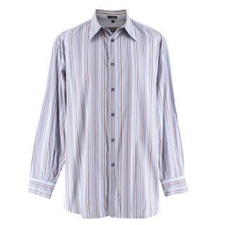 Salvatore Ferragamo Blue & Brown Striped Shirt