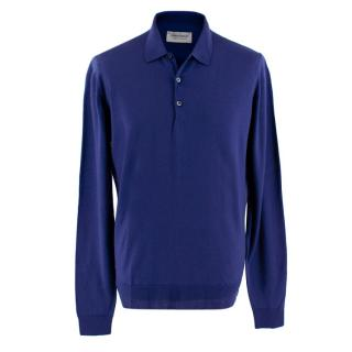 John Smedley Cobalt Blue Polo Sweatshirt