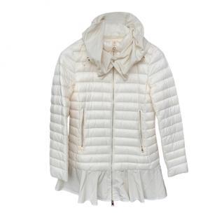 Moncler White Daurade Peplum Puffer Jacket