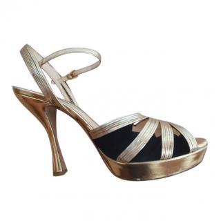 Prada Black & Gold Suede Platform Sandals