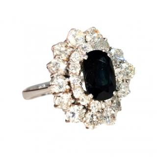 Bspoke 18ct White Gold Diamond Cluster Sapphire Ring