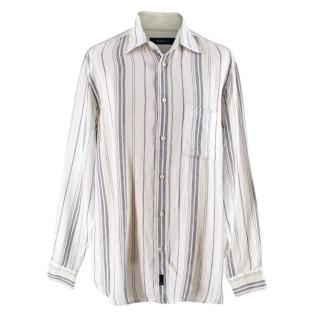Zegna Sport Green Striped Linen Shirt