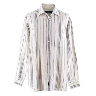 Zegna Sport Green Striped Linen Shirt
