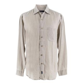 Zegna Sport Light Grey Linen Button Up