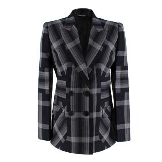 Alexander McQueen Grey and Black Checked Blazer