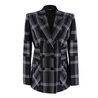 Alexander McQueen Grey and Black Checked Blazer