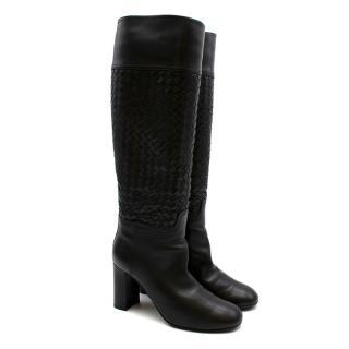 Bottega Veneta Intrecciato Black Leather Boots 37