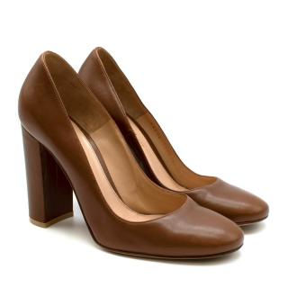 Gianvito Rossi Chestnut Brown Leather Chunky Heel  Pumps  37