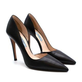 Prada Black Pointed Toe Stiletto Half D'Orsay Pumps