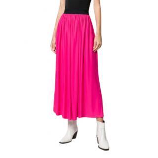 MSGM pink pleated midi skirt