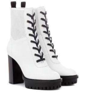 Gianvito Rossi white lace up ankle booties