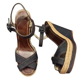 Louis Vuitton navy wedge sandals