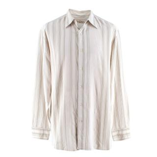 Tommy Bahama Silk Blend Beige Striped Shirt