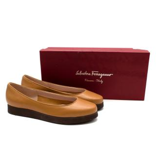 Salvatore Ferragamo My Cloud Dark Tan Platform Slip-Ons