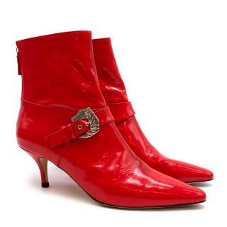 Dorateymur Red Patent Kitten Heel Ankle  Boots