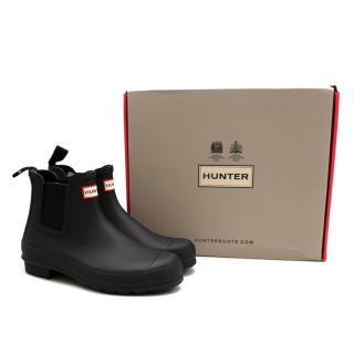 Hunter Black Rubber Rain Ankle Boots 39