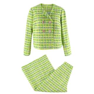 Delpozo Lime Green Woven Jacket and Trouser Suit