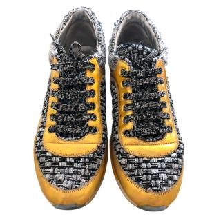 Chanel multi coloured tweed sneakers