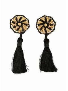 Squared black Tassel earrings