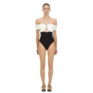 Self Portrait Ruched Off-The-Shoulder Swimsuit