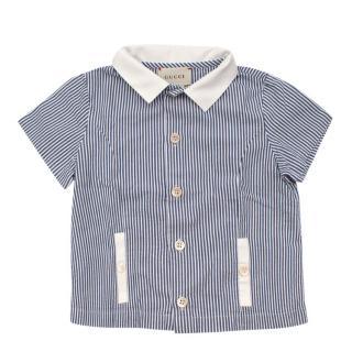 Gucci Kids Pin-striped Blue Short-Sleeve Shirt