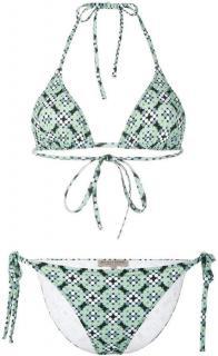 Bottega Veneta green trompe l�oeil dot motif pattern triangle bikini