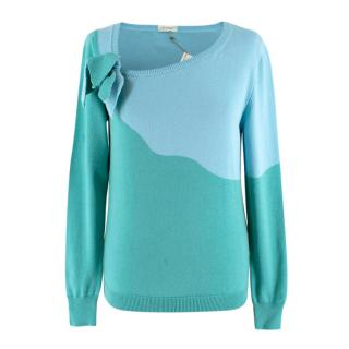 Delpozo Blue and Green Contrast Knit Jumper