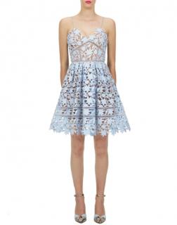 Self Portrait Blue Lace Azaelea Mini Dress