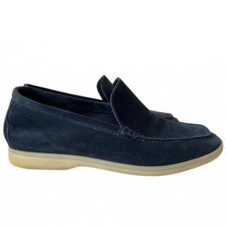 Loro Piana blue classic summer walk moccasins