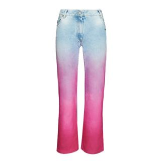 Off White Ombr� Crop High Rise Jeans