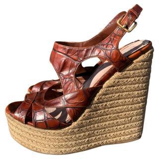 Miu Miu Croc Embossed Wedge Sandals