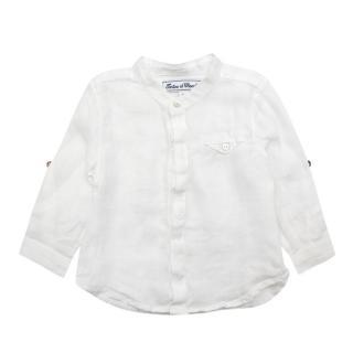 Tartine et Chocolat White Linen Long-Sleeve Shirt