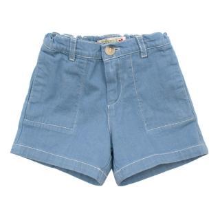 Bonpoint Blue Cotton shorts with White Stitch Detail