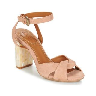 See by Chloe Suede Sandals with Faux Mother of Pearl Block Heel