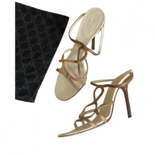 Gucci vintage taupe lizard sandals