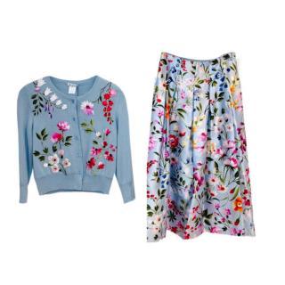Oscar De La Renta Floral Printed Skirt & Embroidered Cashmere Cardigan