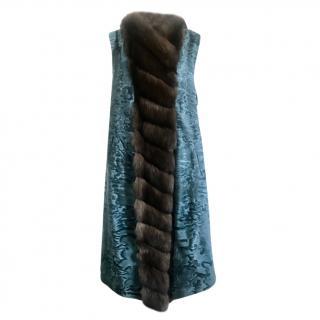 Boronese Blue Astrakhan & Natural Sable Sleeveless Coat