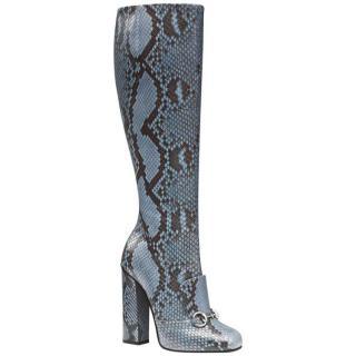 Gucci Blue Python Horsebit Tall Boots