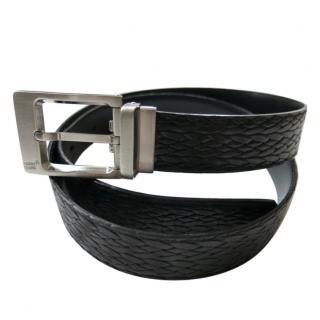 Mont Blanc Black Men's Woven Leather Belt