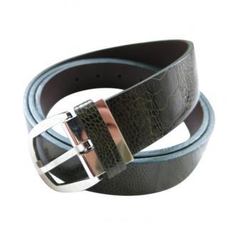 Brioni  green ostrich skin belt