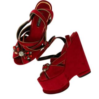 Dolce & Gabbana Red Velvet Crystal Embellished Wedge Sandals