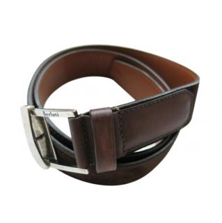 Berluti brown suede leather belt